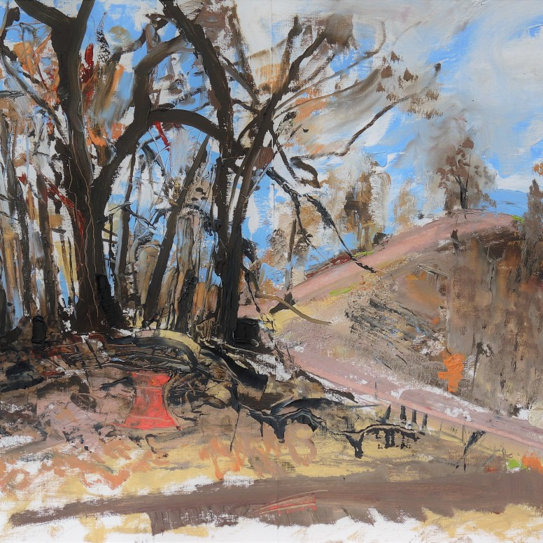 Bushfire aftermath just outside the studio, oil on canvas board, 59x84, $500
