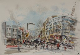 Bayswater Road 2, framed watercolour, 42x59, sold