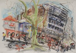 Macleay Street 2, framed watercolour, 42x59, $800