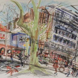 Macleay Street 2, framed watercolour, 42x59, $800