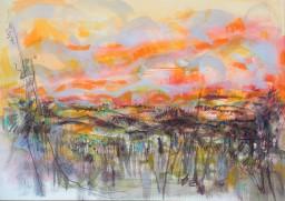 bushfire sunset memory, watercolour, 42x59, $400