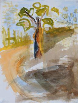 Tree sunset memory 2, watercolour, 32x24, $200