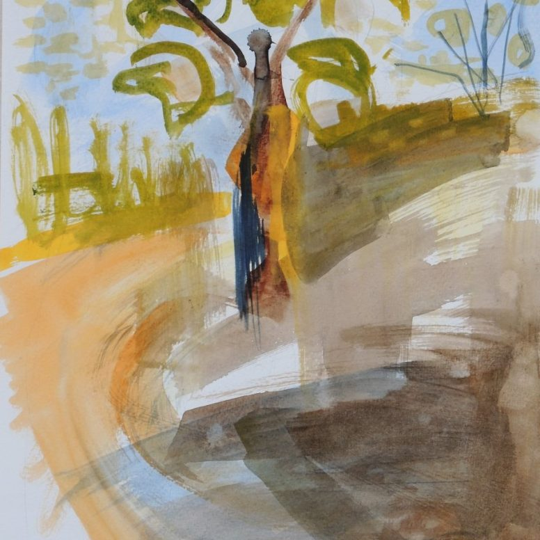 Tree sunset memory 2, watercolour, 32x24, $200