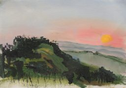 Painting knife sunset 1, oil on canvas paper, 23x45, $200