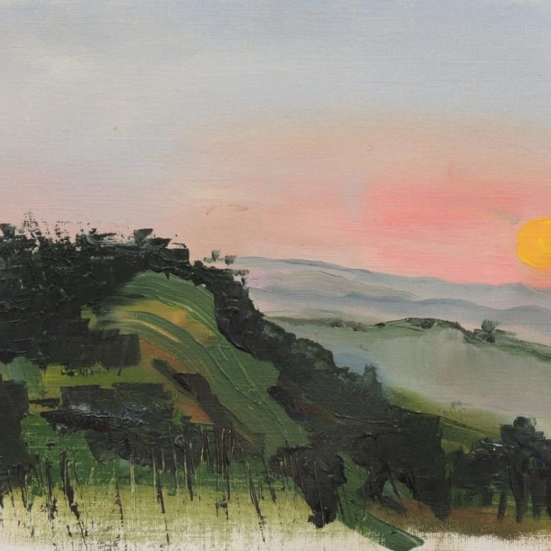 Cycadia First Sunset, oil on canvas paper, 23x45, $200