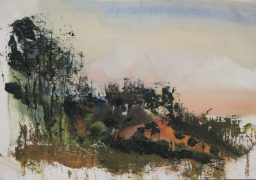 Painting knife sunset 2, oil on canvas paper, 23x45, $200