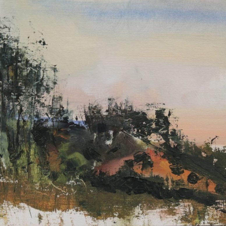 Cycadia Fading Light to West, oil on canvas paper, 23x45, $200