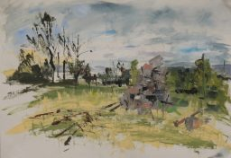 Woodpile, oil on canvas paper, 42x59, $300