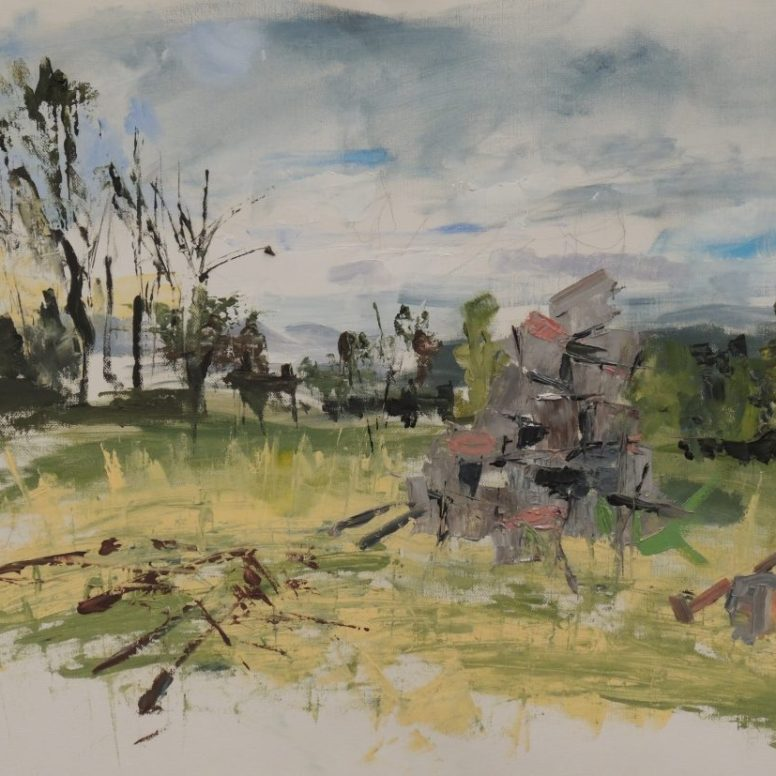 Cycadia House Site Woodpile, oil on canvas paper, 42x59, $300