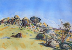 Caringa rocks 4, watercolour, 42x59, $500