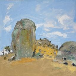 Caringa Rocks 4, oil on canvas board, 610x610, $500