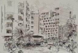 Elizabeth Bay Road 1, framed pen and ink drawing, 29x42, sold