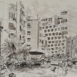 Elizabeth Bay Road 1, framed pen and ink drawing, 29x42, sold