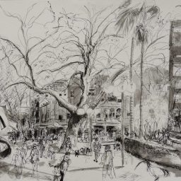 Fitzroy Gardens 1, framed pen and ink drawing , 42x59, sold