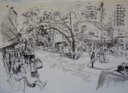 Darlinghurst Road 3, framed pen and ink drawing, 42x59, sold
