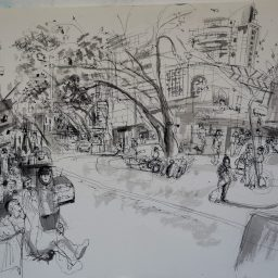 Darlinghurst Road 3, framed pen and ink drawing, 42x59, sold