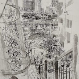 McElhone Steps, framed pen and ink drawing, 59x42, sold