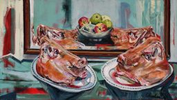 Still life with pork and apples,