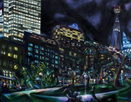 Elizabeth Street, oil on canvas, 610x765, $600
