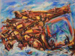 Coastal arc, oil on canvas, 46x76, $600