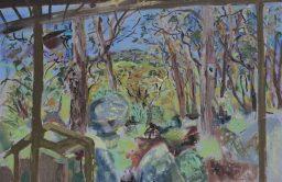 Benloch balcony view 5, oil on canvas board, 61x91, $700