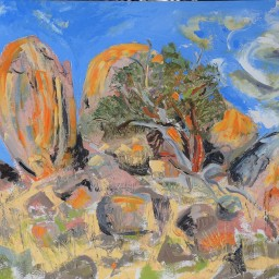 Caringa, the rock 1, oil on canvas board, 61x91, $700