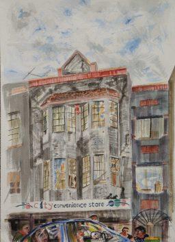 Darlinghurst Road 5, framed watercolour, 42x29, sold