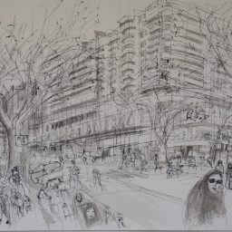 Macleay Street 1, framed drawing, 42x59, $700