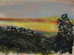 Sunset West to Barrington Tops, oil on canvas paper, 42x59, $300