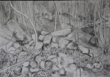 Wodi Wodi rock walls, pencil drawing, 66x92, $500