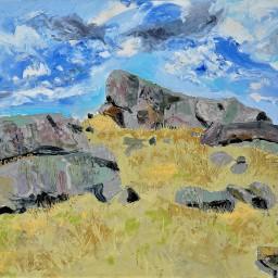 Caringa rocks 3, oil on canvas board, 61x61, $700