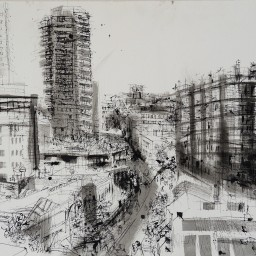Wintergarden roof towards Darlinghurst, pen and ink drawing, 42x59, 500