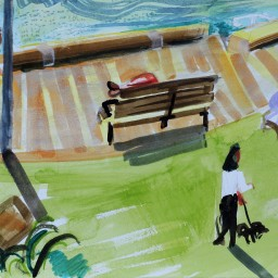 Beare Park sunny morning memory, watercolour, 24x32, $200