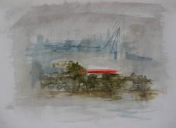 Garden Island foggy morning, 24x32, $200