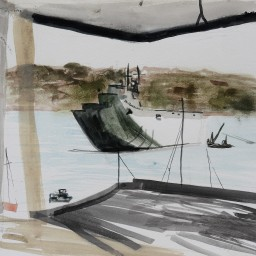 HMAS Thales from Riviera, watercolour, 24x35, $200