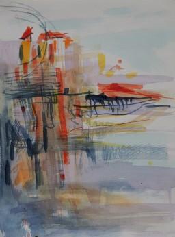 Riviera sunrise memory, watercolour, 32x24, $300