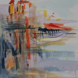 Riviera sunrise memory, watercolour, 32x24, $300
