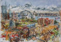 Wintergarden Harbour View, watercolour, 42x59, $600