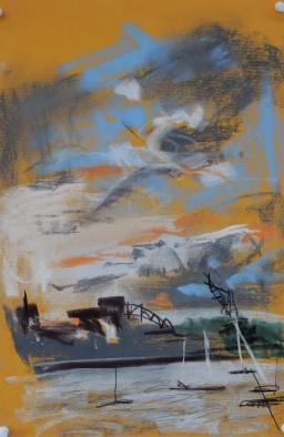 Riviera Sunset May, pastel on paper, 39x27, $300